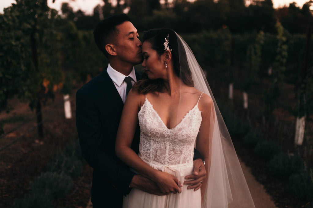 Love is in the air. Wedding couple first kiss. Romantic, lace wedding dress.