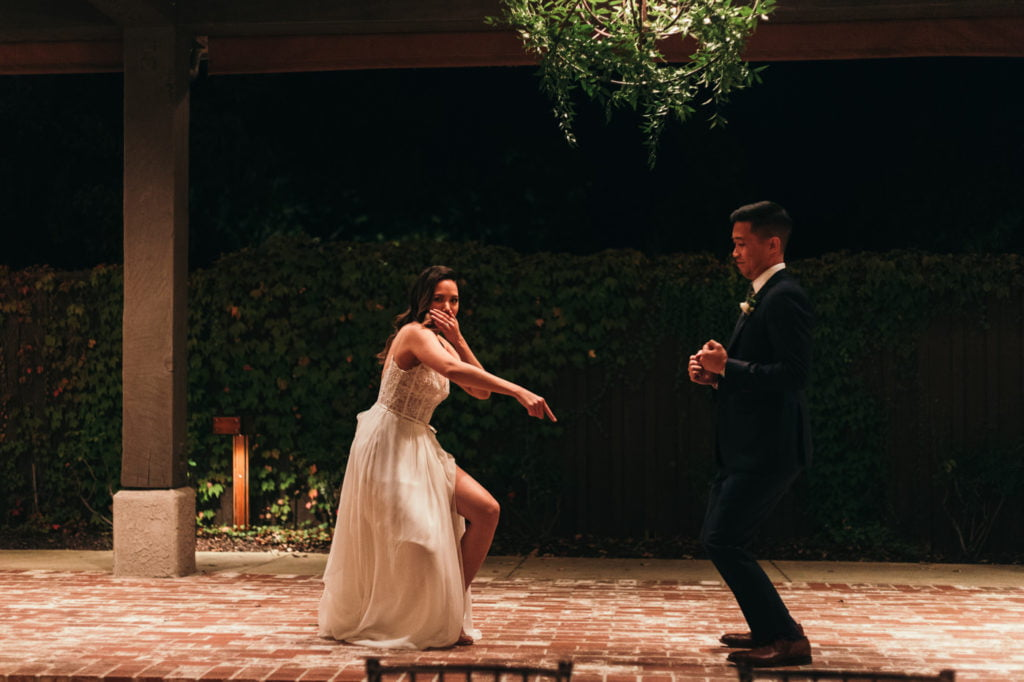 First wedding dance, dancing bride. The moment of the night.