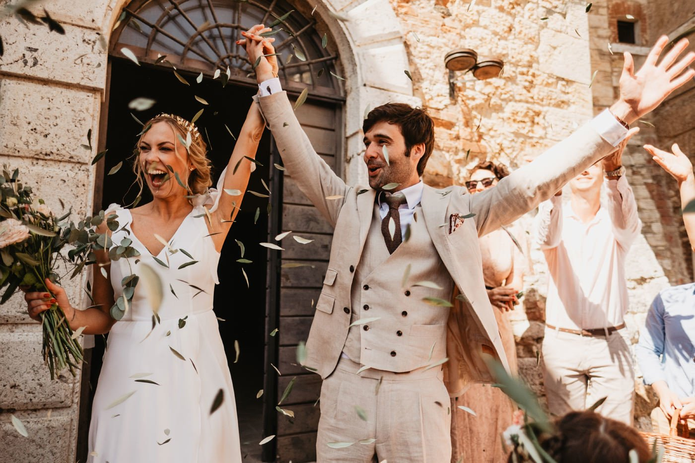 elopement tuscany wedding - just married couple