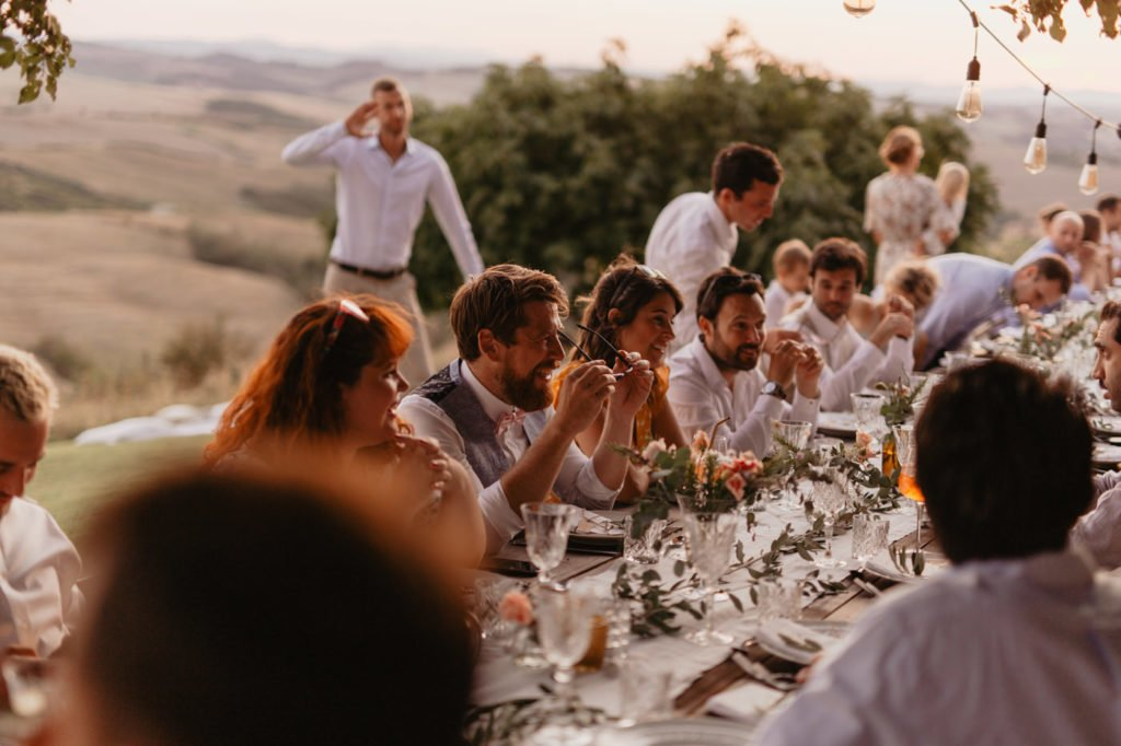 Outdoor wedding party, romantic scenery, garden party in Tuscany